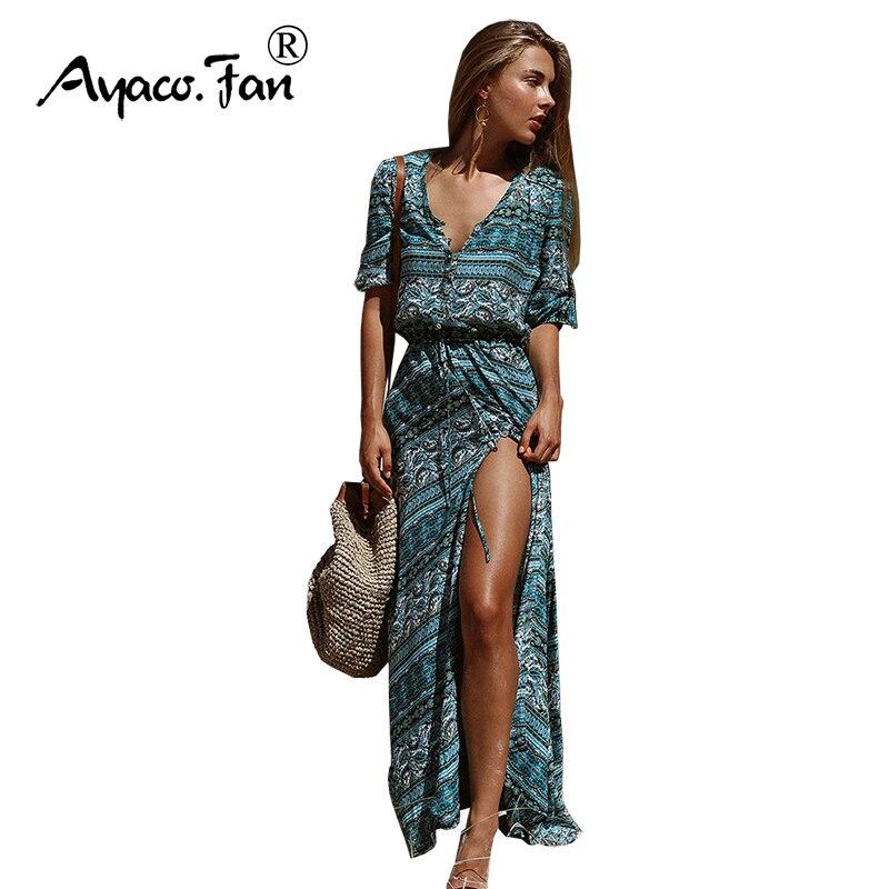 Dresses Beautiful New Women Long Maxi Dress 2019 Summer Boho V-neck Half Sleeve Floral Print Ethnic Beach Dresses Female Split Large Swing Dress