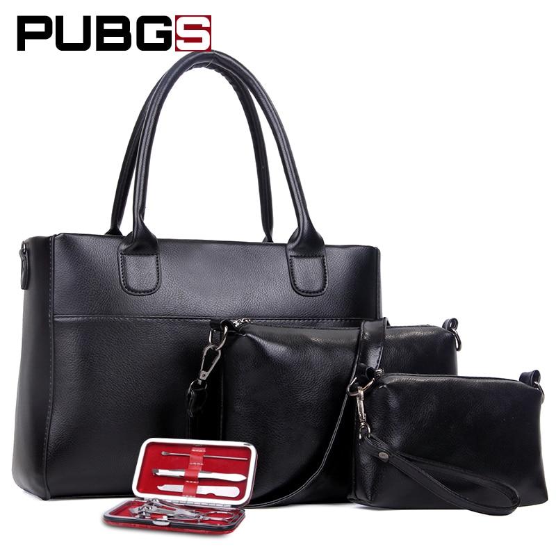 Women's Handbags Female Bags High Grade Leather PU Fashion Simple Large Capacity Practical Gift Nail Kits 3-Piece Set PUBGS 2018