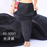 2019 New Winter Women New Fashion Plus Velvet Thick Slim Fit Elastic Shiny Pants Leggings Plus Size