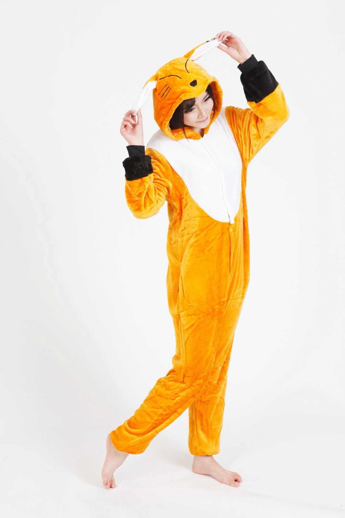 Кигуруми осень и зима животных мультфильм фланель желтый мягкий комбинезон  в виде лисы любителей пижамы для ab07b4708a848