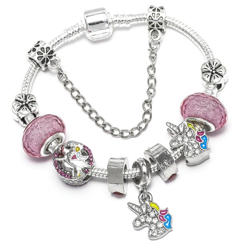 BAOPON Прямая поставка винтажные Подвески серебряного цвета браслеты для женщин DIY Кристальные бусины изящные браслеты для женщин Pulseira ювелирные изделия - Окраска металла: Type 8
