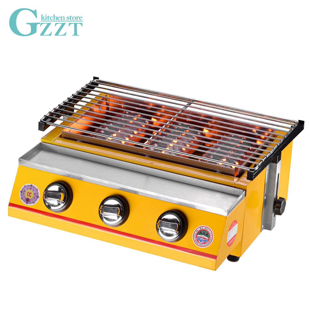 Barbecue Gas Grill BBQ Grill 3 Burners Smokeless Environmental Grill With Stainless Steel Shield Outdoor Picnic Garden