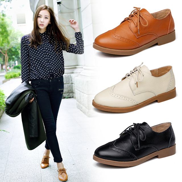 7a22e34cab8 (BEIGE+BLACK)New 2015 Cowhide Casual Flat Shoes Genuine Leather Oxford Shoes  For