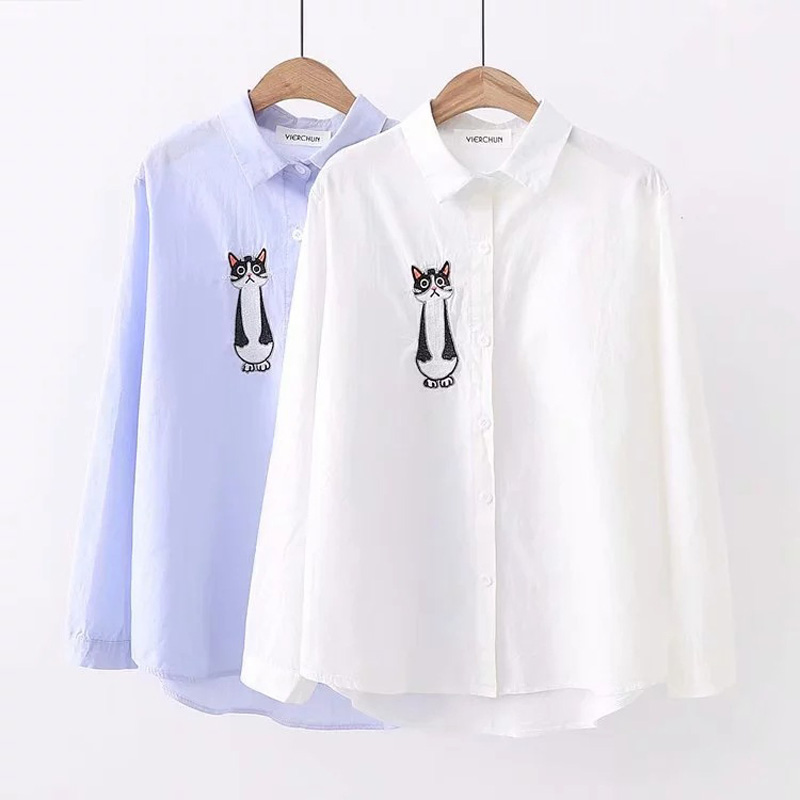 WXCTEAM Lolita Chi's Sweet Home Cartoon Shirt Mori Girls Autumn Winter Japan Style  Cute Long Sleeve Blue White Cat Embroidery