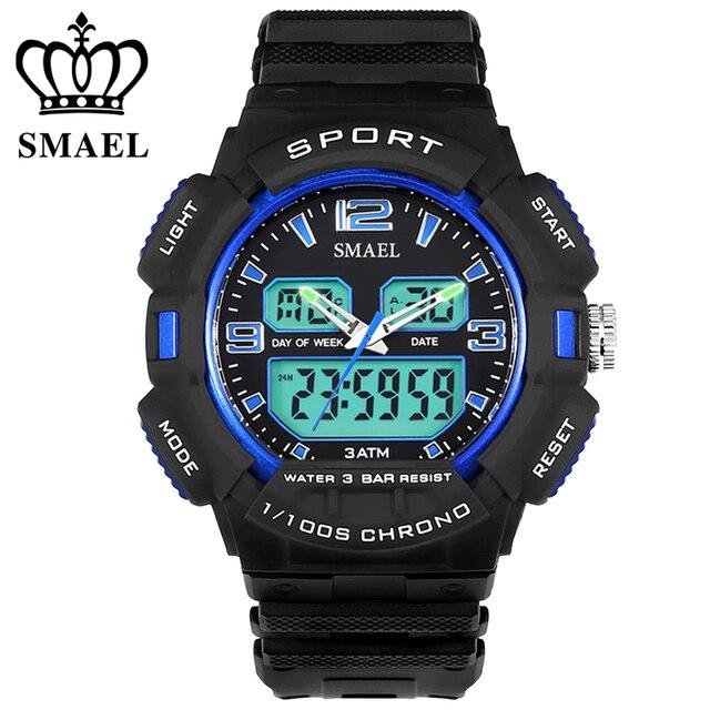 Двойной Дисплей Наручные Часы Водонепроницаемый СВЕТОДИОДНЫЙ Цифровой Спортивные Часы Мужчины Военный Fahion Dive Повседневная Часы Сигнализация reloj hombre WS1378