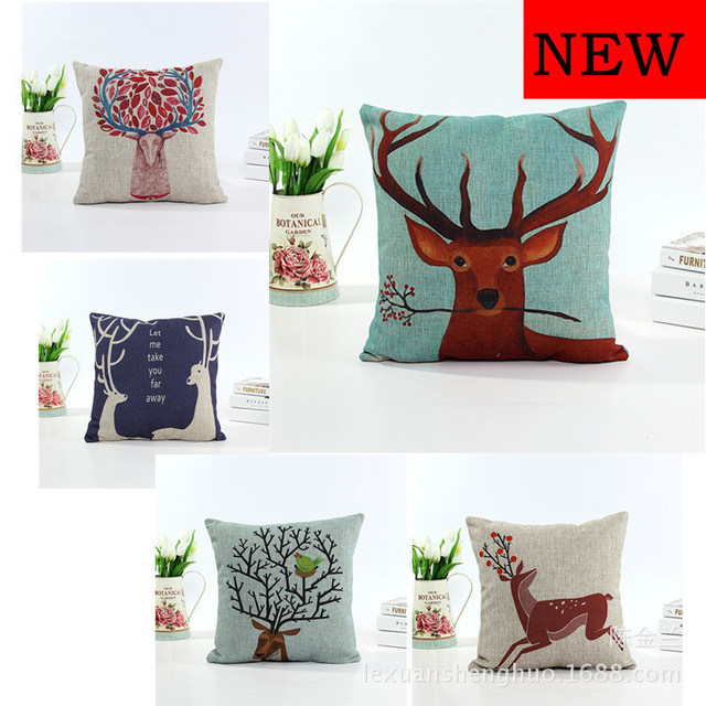 Attirant Export Hot Sale Deer Sofa Pillows Case Cotton Flax Car Cushions Cover  Picture Customized Quality Free