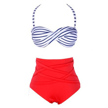Striped Bikini Set Women Sexy Swimwear Swimsuit Push Up Bathing Suit High Waist Padded Twisted Beach Wear Biquini BB55