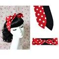 1950 s de Las Mujeres de La Vendimia Rockabilly Pin Up Style Red Dots Imprimir Diadema de Pelo Bandas Para La Cabeza Accesorios Del Arco Del Oído de Conejo