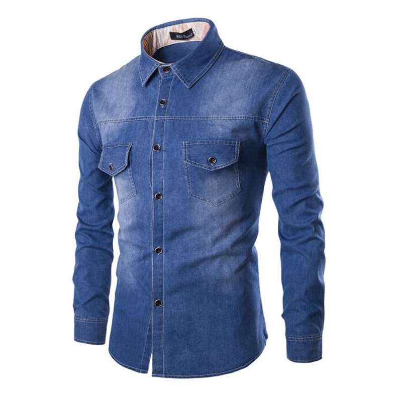 Fashion Mens Denim Long Sleeve Denim Shirt/Casual Slim Fit Pure Cotton Jean Shirts/Men Two-pocket Tops Clothing Plus Size S-6XL