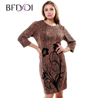 Plus Size 5xl New Promotion Women Spring Dress 2015 Lady Loose Flowers Work Dresses Fashion Vestidos