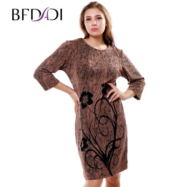 1949a554cf7b Bfdadi 2016 novità autunno inverno casual dress jacquard tessuti fiori di  stampa delle donne elegante abbigliamento