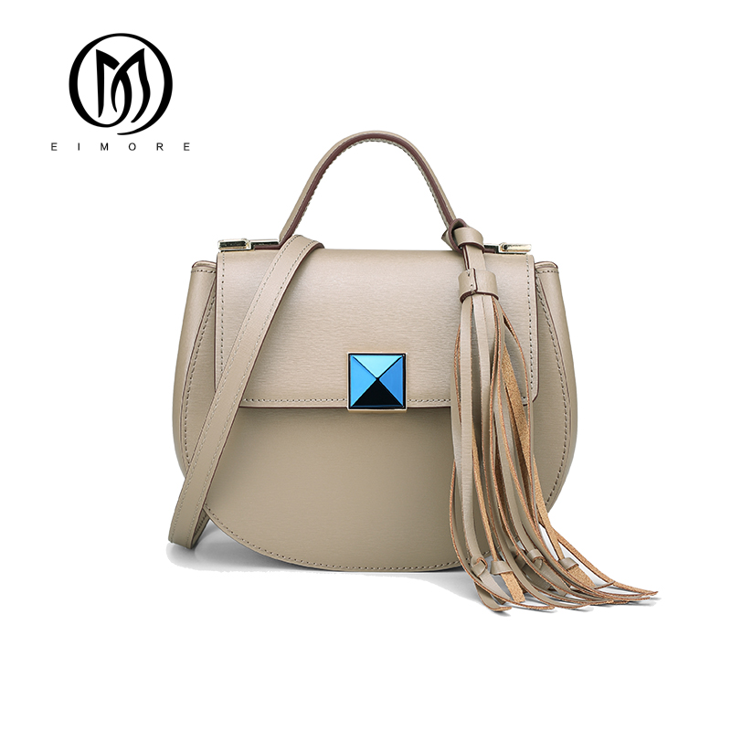 EIMORE Luxury Designer Women Handbag Genuine Leather Shoulder Bag Female Cloe Bag With Tassel Fashion Small Bag bolsa feminina crossboby bag for women genuine leather fashion ladies shoulder bag designer female handbag luxury brand girl bag bolsa feminina