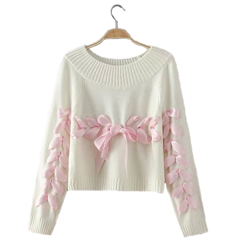 LIVA GIRL Women Bow Ribbon Sweater Young Woman Loose Soft Knitting Sweaters Jumpers Teenager Lady Christma Sweater Clothes B05