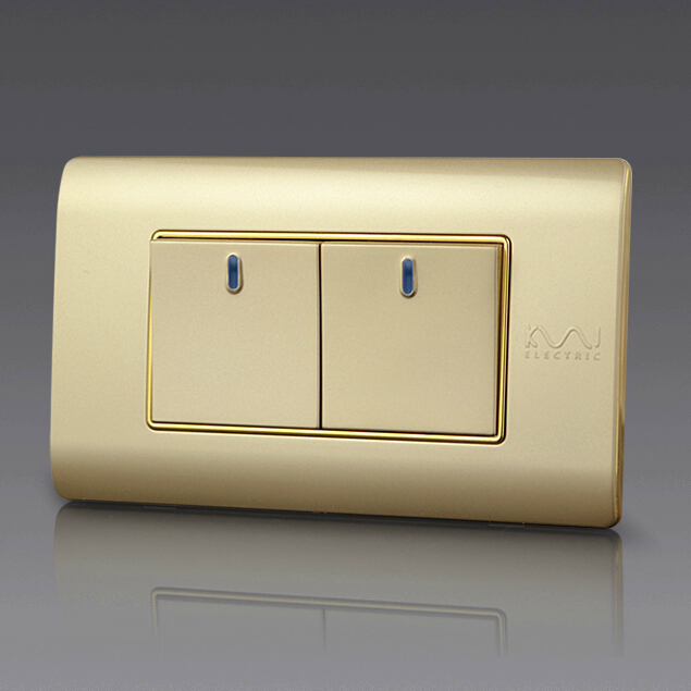 Free Combination, Kempinski Luxury 2 Gang 2 Way Wall Switch, Light Switch, 118*72mm, AC 110~250V, C5 series kempinski wall switch 3 gang 1 way light switch champagne gold color special texture c31 sereis 110 250v popular