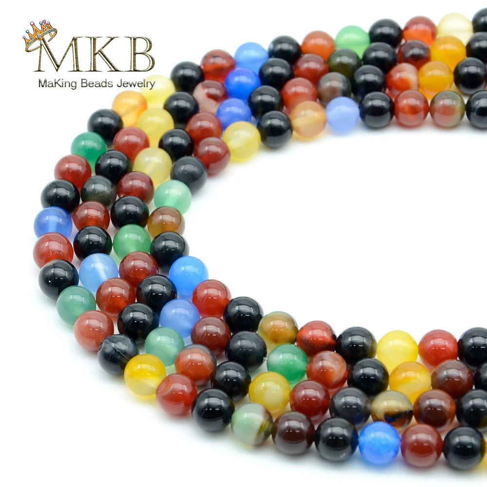 Natural Stone Multicolor Agates Round Beads For Jewelry Making 4 6 8 10 12mm Spacer Beads Diy Necklace Bracelet Wholesale Neither Too Hard Nor Too Soft Beads Jewelry & Accessories