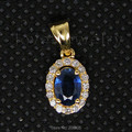 Oval Vintage 4x6mm 18kt Ouro Amarelo Diamante Azul Safira Pingente WP027