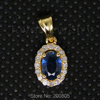 Vintage Oval 4x6mm 18kt Yellow Gold Diamond Blue Sapphire Pendant WP027