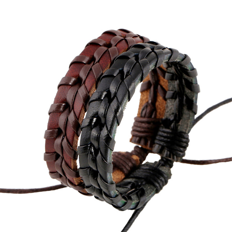 ER Handmade Black Braided Leather Bracelet Men PU Leather Rope Chain Knitted Weave Friendship Braslet Casula Jewelry LB221