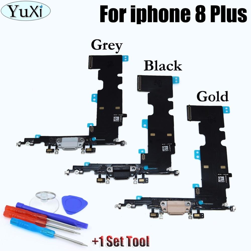 YuXi De Charge Port Flex Câble De Réparation Pièces De Rechange pour iPhone 8 Plus 5.5 pouce; Dock Connecteur De Charge Port Flex + Outil