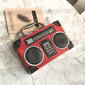 Image 3 - レトロラジオボックススタイルpuレザーレディースハンドバッグショルダーバッグチェーン財布女性のクロスボディメッセンジャーバッグフラップ