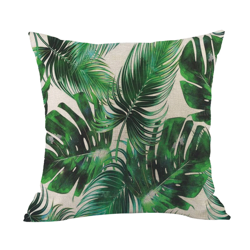 Image 3 - Green forest pillowcase Comfortable fabrics Tropical plant polyester pillowcase sofa throwing pad set home decoration 2019 Hot-in Cushion Cover from Home & Garden
