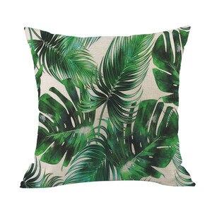 Image 3 - Zielony las poszewka na poduszkę wygodne tkaniny tropikalnych roślin poliester poszewka na poduszkę sofa rzucanie pad zestaw do dekoracji wnętrz 2019 Hot