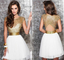 Gold and white sheer homecoming dresses Cap sleeve short Tarik Ediz graduation dresses party gowns cocktail dresses TK177
