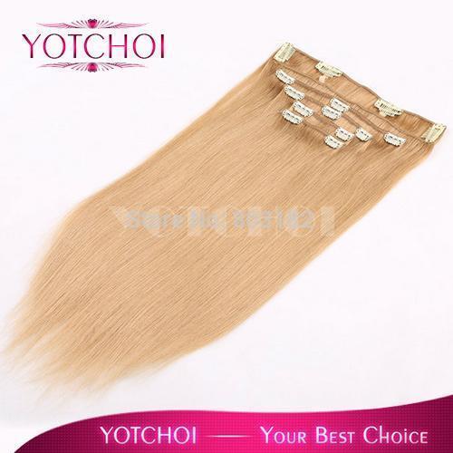"""Yotchoi 22 # ash blonde cor grampo em extensões do cabelo humano 5 pcs tramas 14 """"-24"""" em linha reta remy extensões de cabelo humano clipe conjuntos"""
