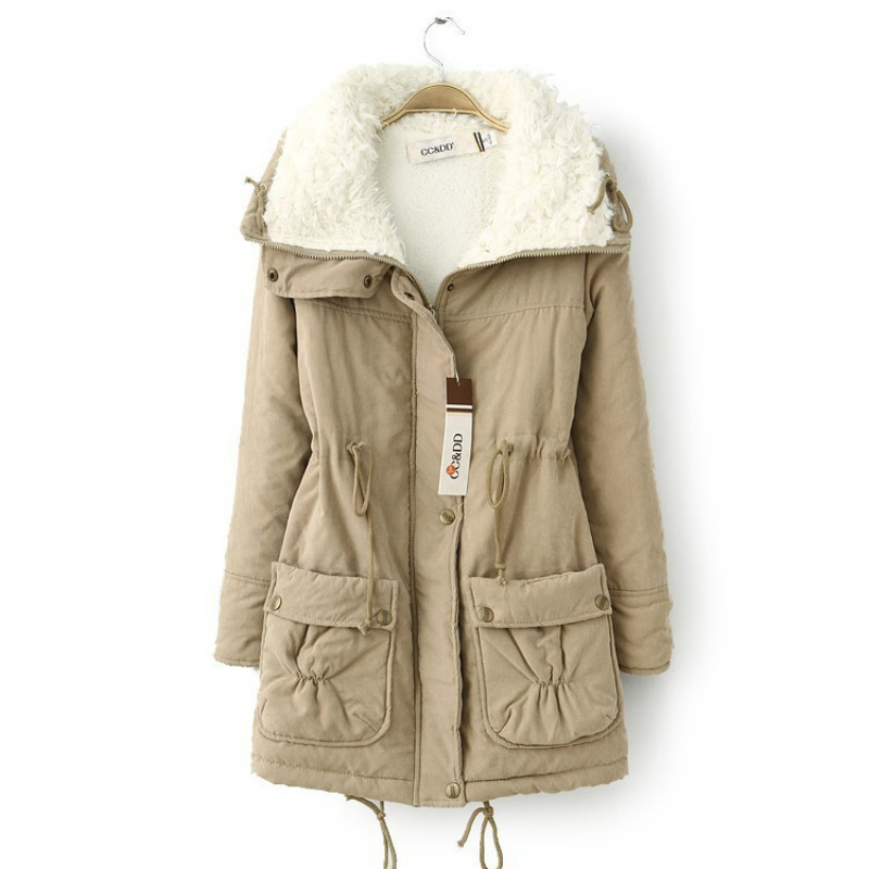 Winter Jacket For Women Hooded Thick Parkas Pockets Lamb Fur Jacket Women Large Size Women Jacket Long Parkas Women Plus Sizes