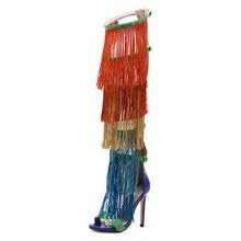 Fashion show стиль Бедра Высокие сапоги Сексуальные насосы женские Летние кисточкой Длинные Сапоги Гладиатор Сандалии Сапоги На Высоком Каблуке размер обуви 4-11