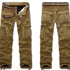 Image 3 - 29 40 calças de carga dos homens do tamanho grande inverno calças quentes grossas comprimento total multi bolso casual militar baggy tático