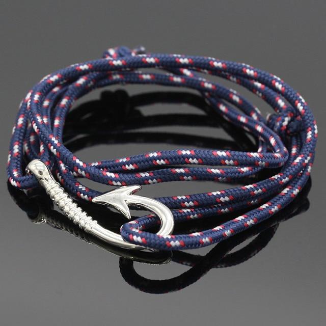 Fashion Nautical Rope Bracelet Men S Anchor Bracelets Friend Sailor Fish Hook For