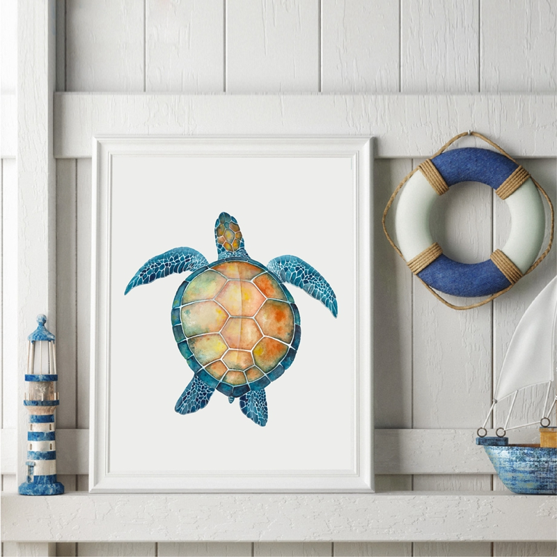 Us 2 57 20 Off Ocean Sea Turtles Art Print Poster Home Decor Watercolor Starfish Canvas Painting Nautical Decoration In