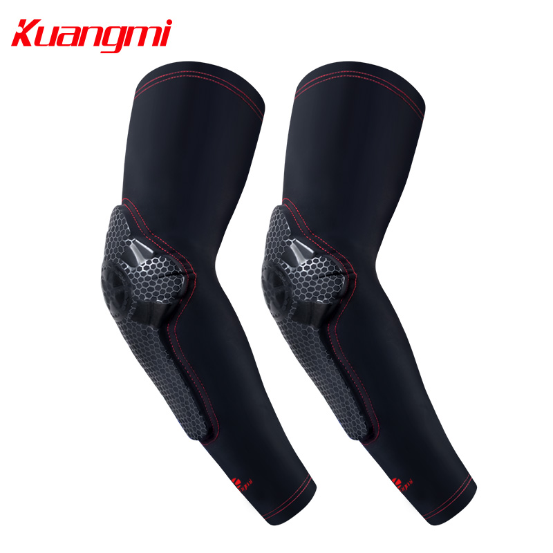 Kuangmi 1 Pair Elbow Support Basketball Football Elbow Compression Sleeve Elbow Brace Protector Basketball Tennis Arm Brace цена 2017