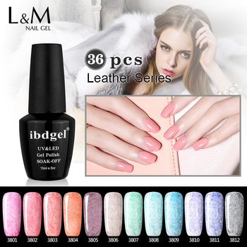DHL TNT Fast Shipment Perfectly Package 36 Pcs Leather Gel ibdgel Brand Leather Gel Polish Beauty Color Nail Set