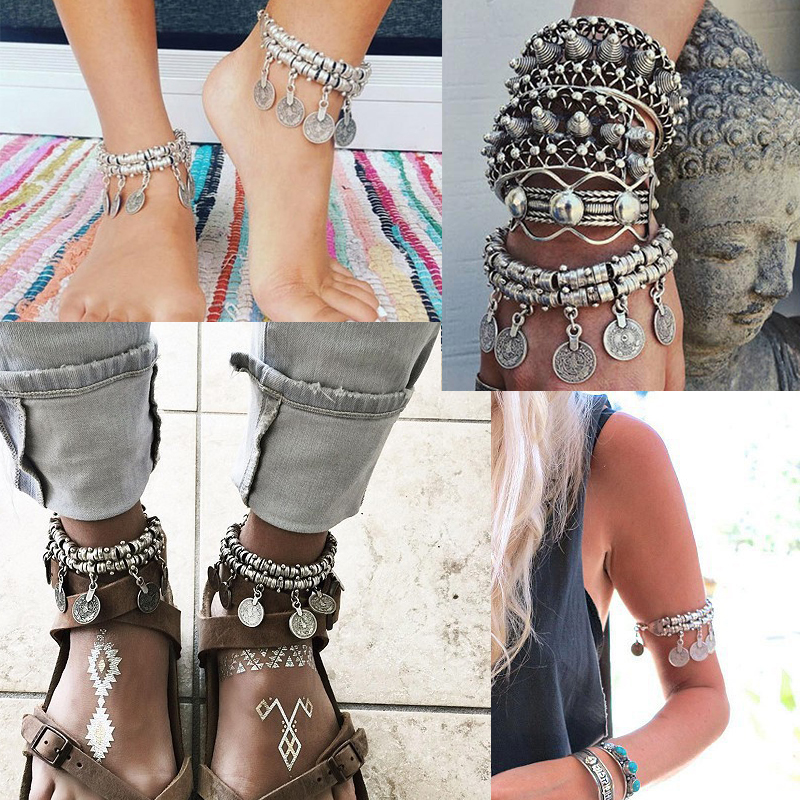 Bohemia SilverColor  Coin India Women's Anklet Chain Strap Foot Bracelet Barefoot Sandals Jewelry Beach Accessories For Women