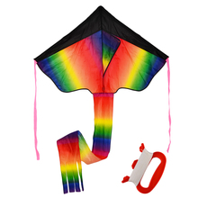 Outdoor Sky Dancer Toy Kite Polyester Fiberglass Triangle Flying Kite with Long Tail - Ramdom Color