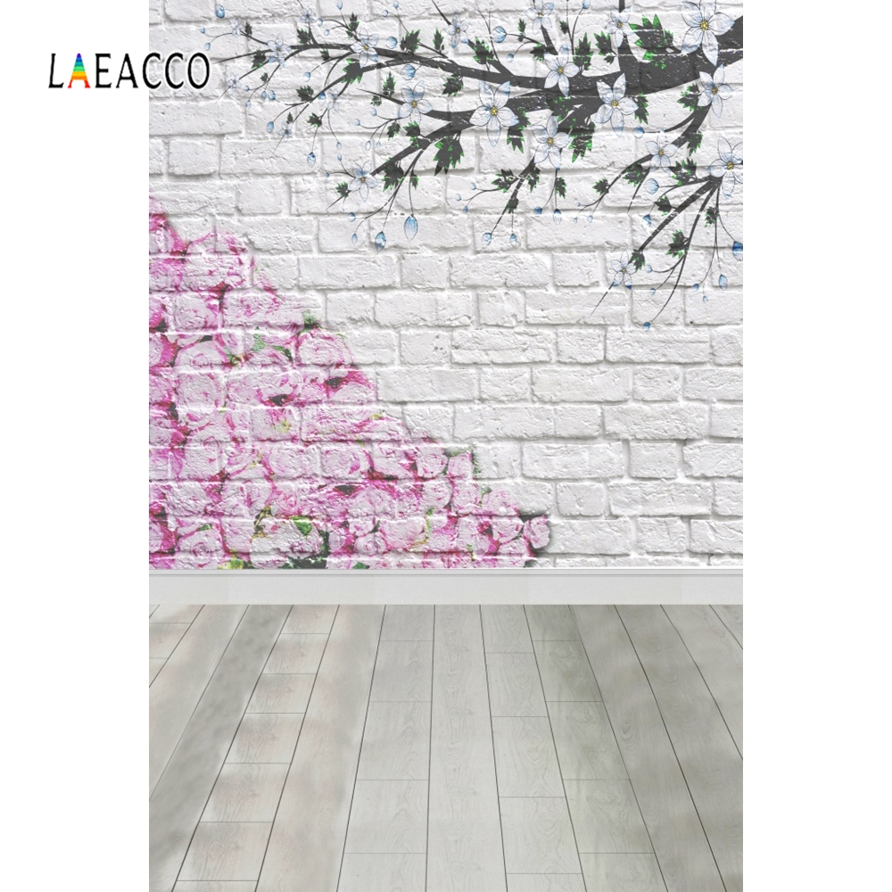 Laeacco White Brick Wall Wooden Board Flowers Branch Photography Backgrounds Customized Photographic Backdrops For Photo Studio