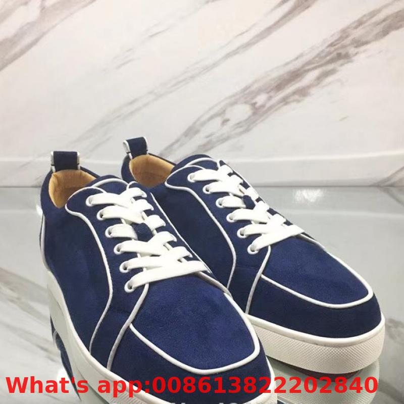 Lace-up Patent Leather Red Bottoms Shoes Low-cut For Men Blue Denim None Rivet Casual Lovers Sneakers Flat Loafers(China)