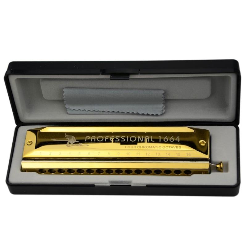 Swan 16 Hole Chromatic Harmonica Golden Color Square mouthpiece Professional Mouth Ogan Harp Instrumentos C Key
