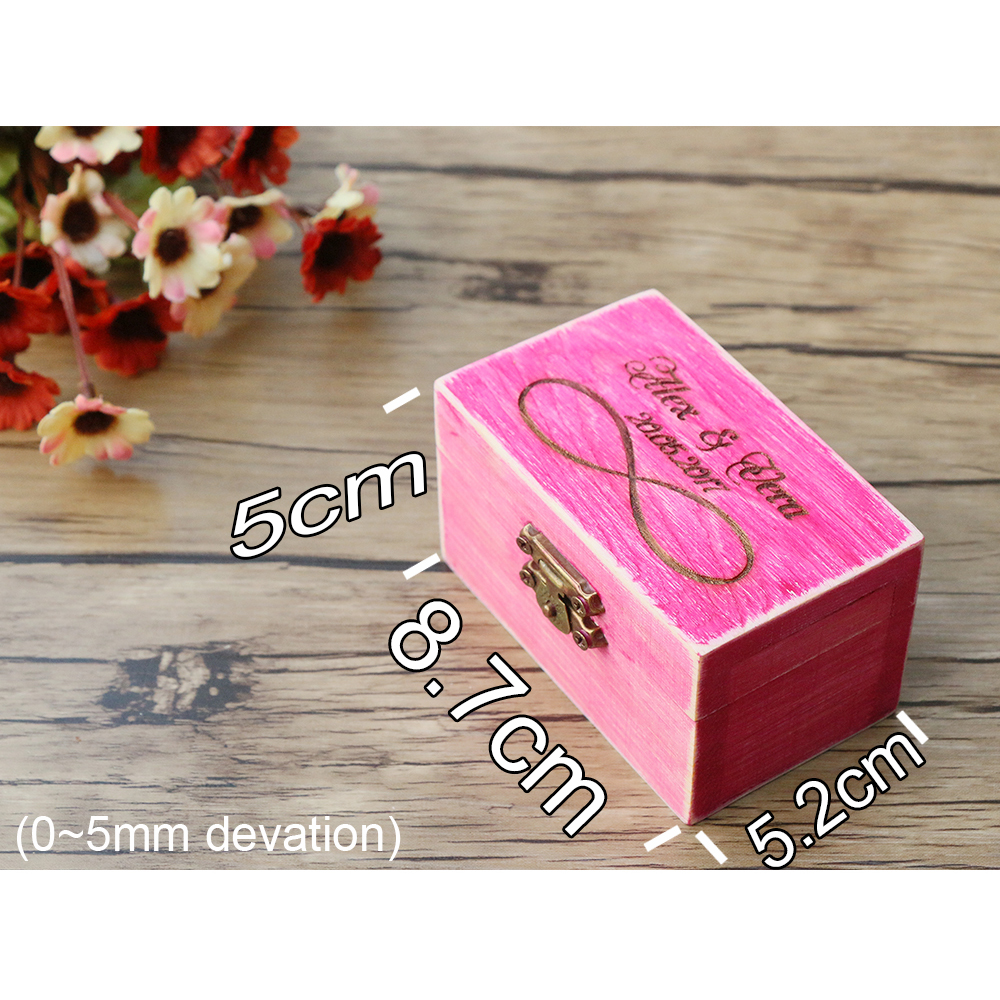 4 Colors Vintage Rustic Wedding Ring Box Bearer Box Wood Jewelry ...
