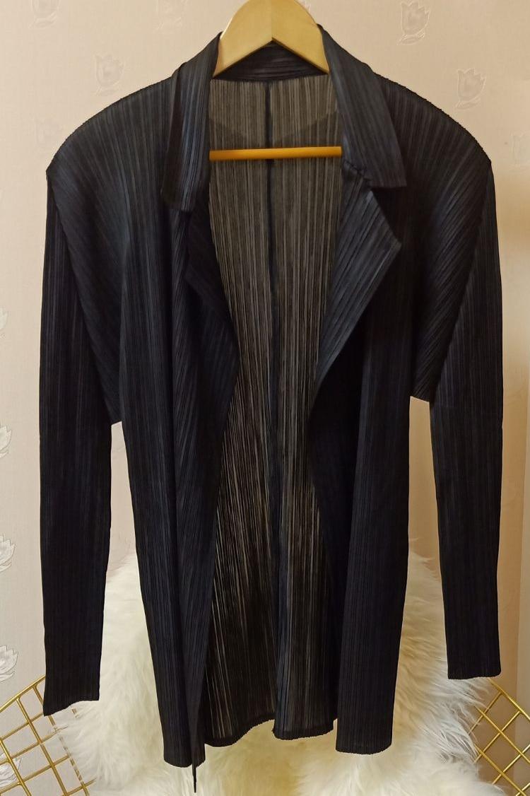 Plissé À Gratuite Manches bleu jaune Col Longues Noir Couleur Solide Costume Plissée Livraison Miyake Large dB5nqHUPd