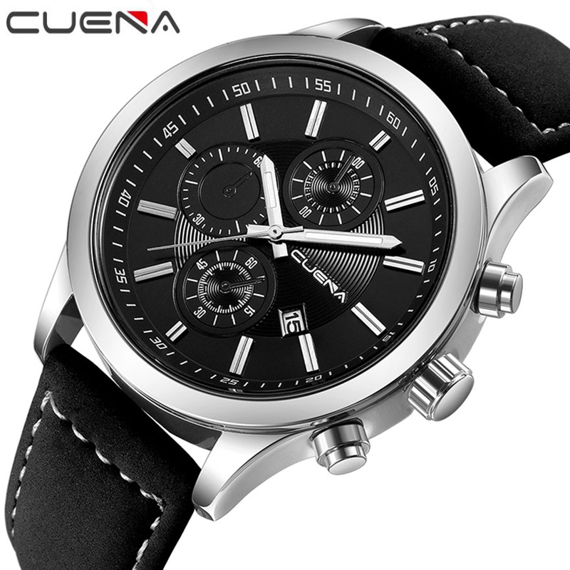 CUENA Brand Fashion Male Watches Waterproof Leather Mens Quartz Watch Casual Calendar Wristwatches Relogio 6637P 8 Colors atx 80plus efficiency 500w power gold power 12v sata port connectors 12cm fan high quality computer power supply for btc