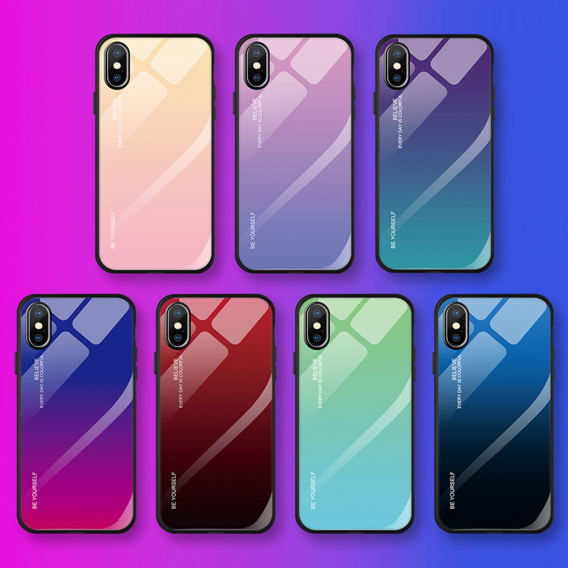 Deluxe gradient glass case for iPhone Xs Max Xr 7 8 6s 6 Plus X 10 soft silicone frame case phone case box