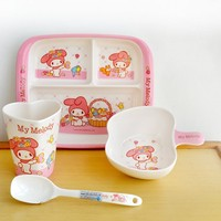 4 / pce Melamine Children Tableware Set Cartoon Baby Children Set Baby Tableware Bowl Spoon Cup Learning Plate Dishes Food