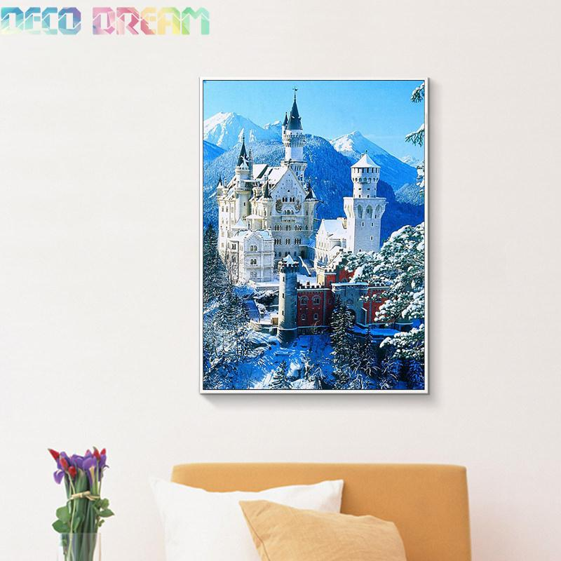 Diy Full Resin Round Diamond Painting Rhinestones Embroidery Kit Castle In The Snow Mountain Scenery Mosaic Decor As Hobby Gift in Diamond Painting Cross Stitch from Home Garden