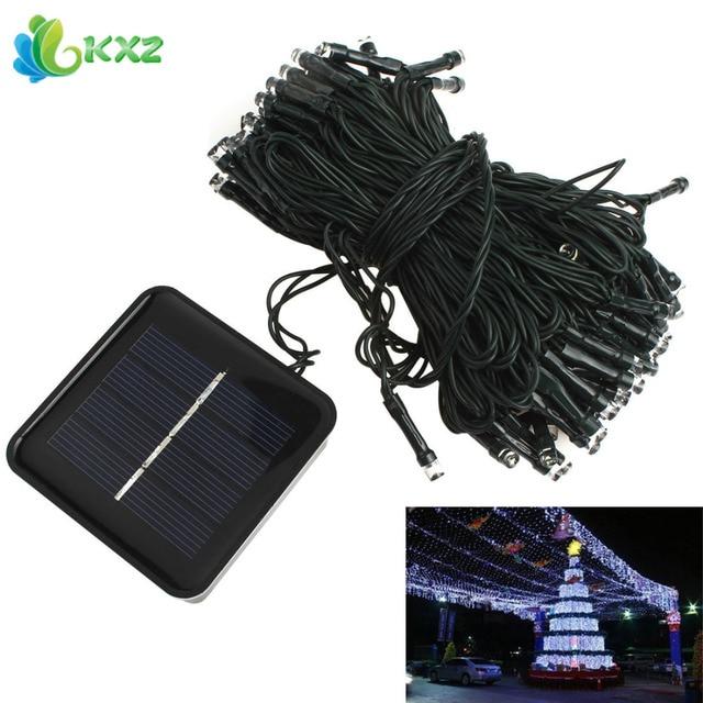 Solar Power 100 LED Fairy String Garland Light Outdoor Waterproof Christmas  Tree Wedding Garden Party White