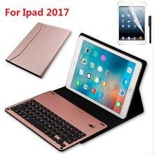 Kemile Für iPad air 1 air 2 Drahtlose Bluetooth Aluminium Legierung Tastatur Fall für iPad Pro 9,7 Leder Tastatur tastatur