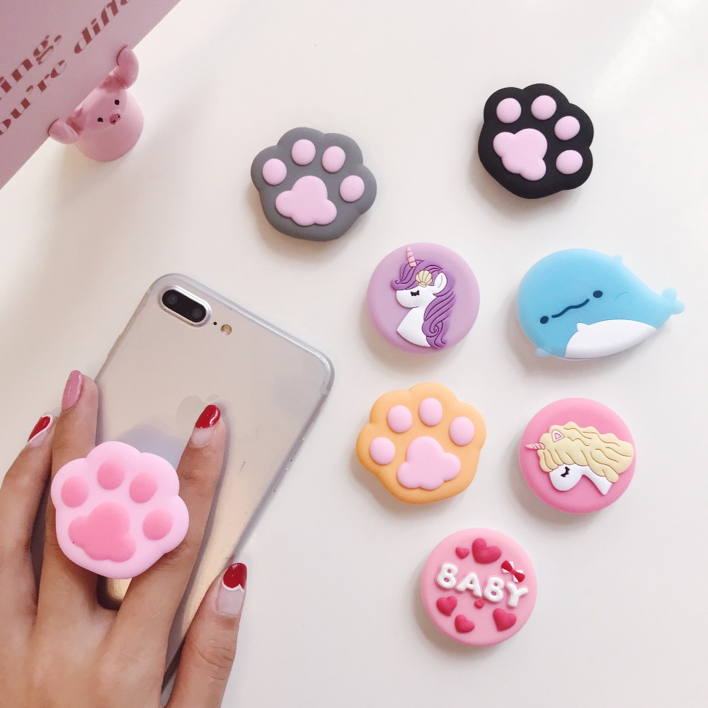 Universal Mobile Phone Stretch Socket Bracket Cute 3D Cartoon Bear Airbag Expanding Phone Stand Grip For Finger Car Phone Holder