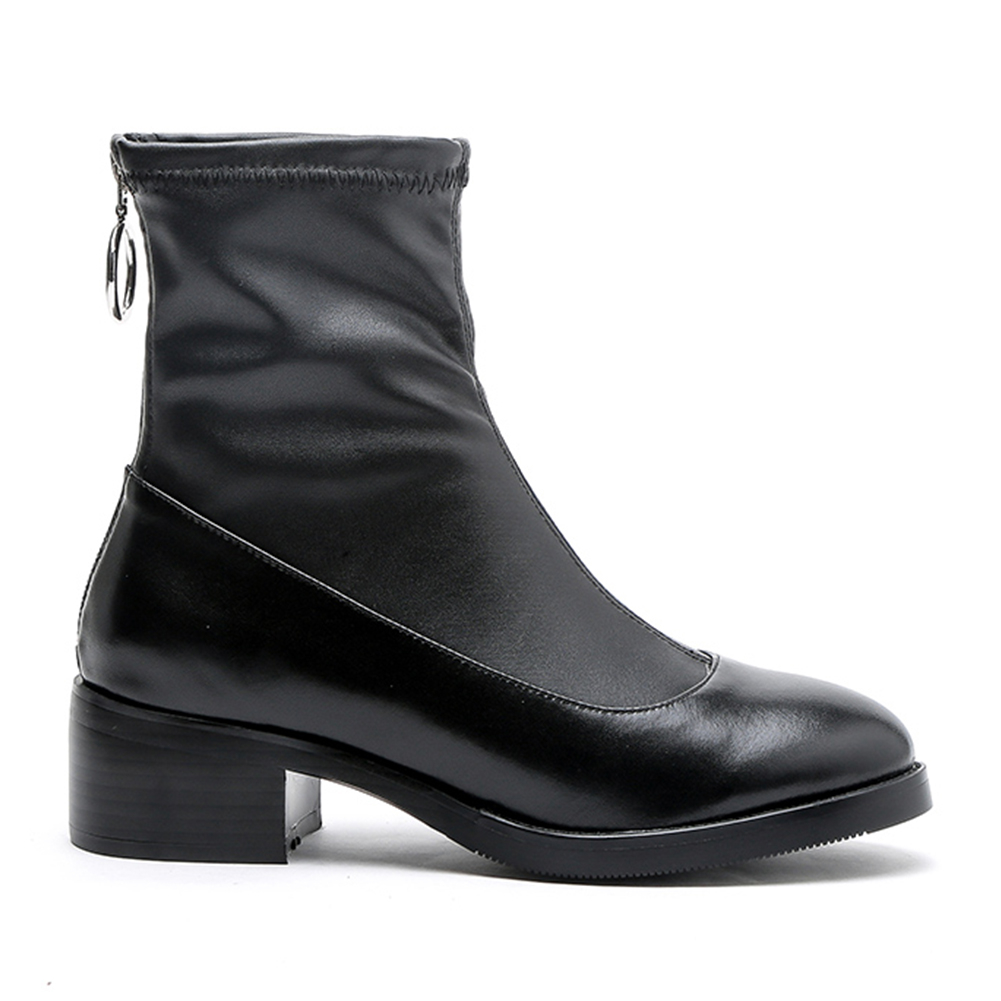 Vaca Zip Tacones Botas Otoño Invierno Doratasia De Zapatos Cuadrados Negro 33 43 Genuino Up Nuevo Tobillo Cuero Tamaño Mujer Grande 6wR8Pzq